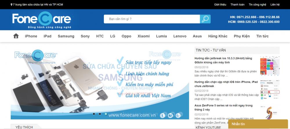 FoneCare – Sửa chữa điện thoại giá tốt