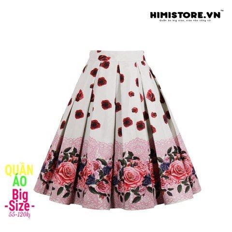 HM099 [Chân Váy Cho Người Mập Lùn] Chân váy chữ A cherry/hoa hồng dự tiệc màu trắng