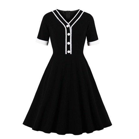 HM352 [Váy Đầm Big Size] Đầm chữ A xòe công sở tay ngắn cổ chữ V hàng nút viền trắng nền đen