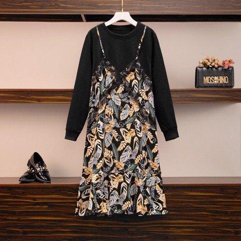 HM377 [Đầm BigSize - Đầm Công Sở Size Lớn] Đầm suông áo đen tay dài liền đầm hai dây họa tiết đuôi cá