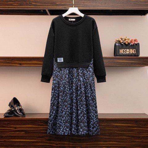 HM378 [Đầm Size To - Đầm Cho Người Mập] Đầm suông áo hoodie trơn đen tay dài liền váy midi beo xanh