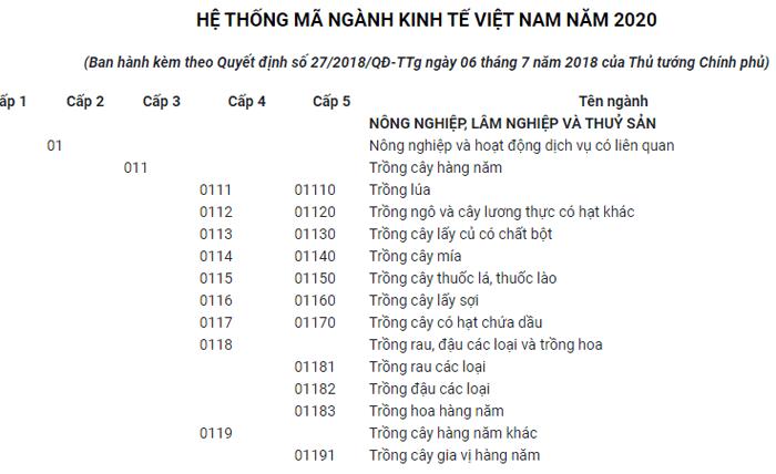 Hệ thống ngành kinh tế của Việt Nam năm 2020